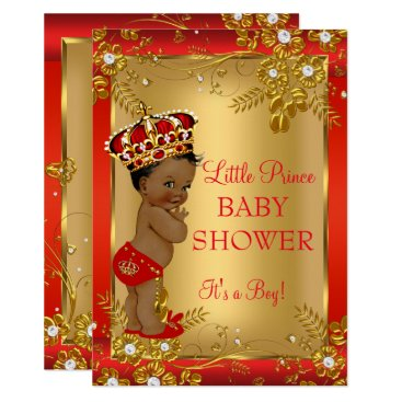 Toddler & Baby themed Prince Boy Baby Shower Red Gold African American Card