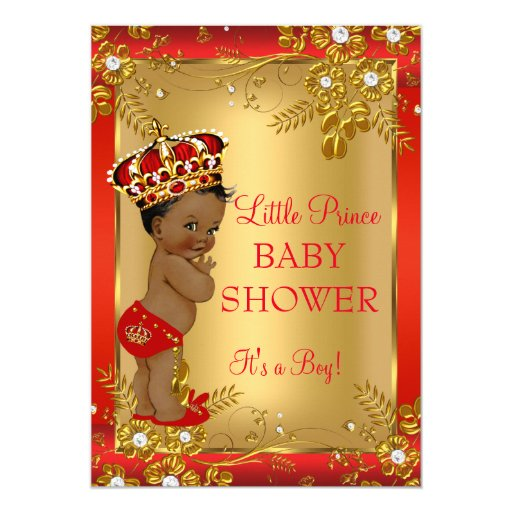 Prince Boy Baby Shower Red Gold African American Card Zazzle