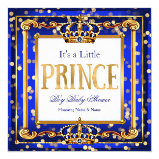 Prince Boy Baby Shower Royal Blue Gold Bokeh Card