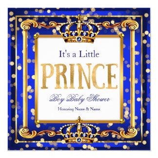 Prince Boy Baby Shower Royal Blue Gold Bokeh Card