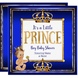 Prince Boy Baby Shower Royal Blue Gold Brunette Card