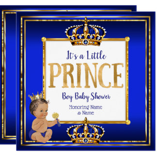 Prince Boy Baby Shower Royal Blue Gold Brunette DK Card
