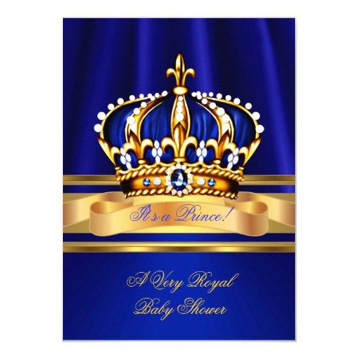 Prince Boy Baby Shower Royal Blue Gold Crown Card | Zazzle