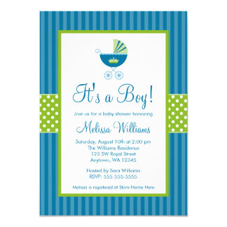 Prince Carriage Blue Green Stripes Baby Shower Card