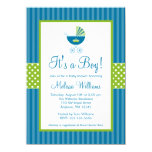 Prince Carriage Blue Green Stripes Baby Shower 4.5x6.25 Paper Invitation Card