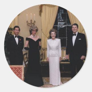 Prince_Charles,_Princess_Diana,_Nancy_Reagan,_and_ Classic Round Sticker