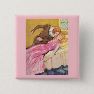Prince Charming kissing Sleeping Beauty Button