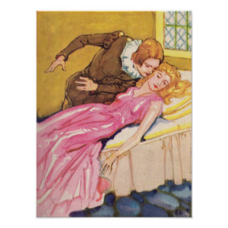 Prince Charming kissing Sleeping Beauty Poster