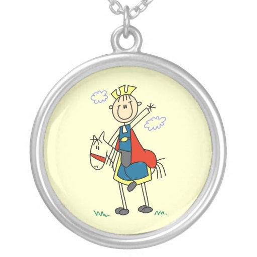 Prince Charming on Horse Round Pendant Necklace