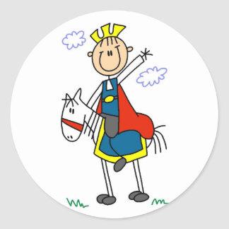 Prince Charming on Horse Tshirts and Gifts Classic Round Sticker