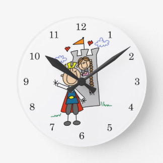 Prince Charming Rescues Princess Round Wallclocks