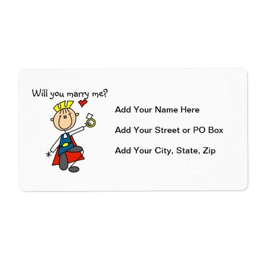 Prince Charming Will You Marry Me Personalized Shipping Label