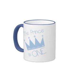 Prince Crown 1st Birthday Ringer Coffee Mug