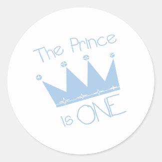 Prince Crown 1st Birthday Round Stickers
