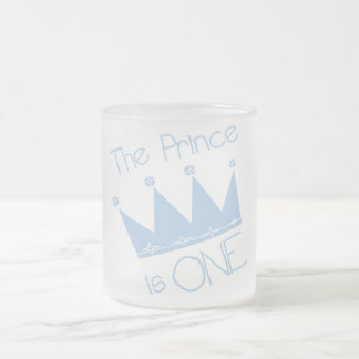 Prince Crown 1st Birthday Tshirts and gifts 10 Oz Frosted Glass Coffee Mug