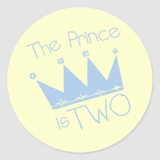 Prince Crown 2nd Birthday tshirts and Gifts Classic Round Sticker