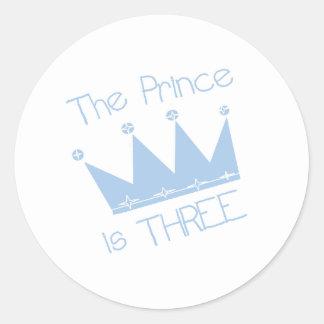 Prince Crown 3rd Birthday Classic Round Sticker