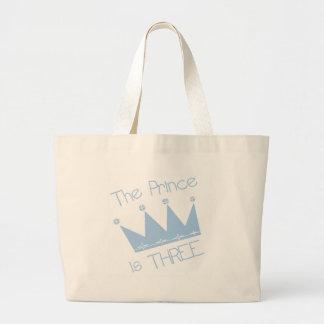 Prince Crown 3rd Birthday Tshirts and Gifts Jumbo Tote Bag