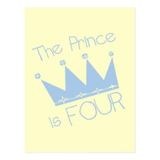 Prince Crown 4th Birthday Tshirts and Gifts Postcard