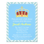 Prince Crown Baby Shower Blue White Chevron Card