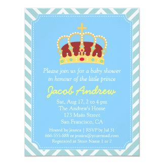 Prince Crown Baby Shower Blue White Chevron 4.25x5.5 Paper Invitation Card