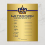 """Prince Crown Baby Shower Games Word Scramble<br><div class=""""desc"""">Prince baby shower games with baby word scramble on one side, and nursery rhyme quiz on the other. This royal blue and gold prince crown baby shower game flyer is fun and economical! You can change the questions and the words. Hand them out to your guests telling them not to...</div>"""