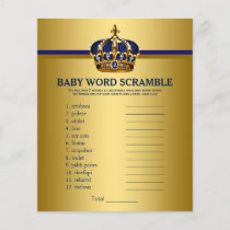 Prince Crown Baby Shower Games Word Scramble