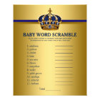 Prince Crown Baby Shower Games Word Scramble Flyer