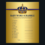 """Prince Crown Baby Shower Games Word Scramble Flyer<br><div class=""""desc"""">Prince baby shower games with baby word scramble on one side, and nursery rhyme quiz on the other. This royal blue and gold prince crown baby shower game flyer is fun and economical! You can change the questions and the words. Hand them out to your guests telling them not to...</div>"""
