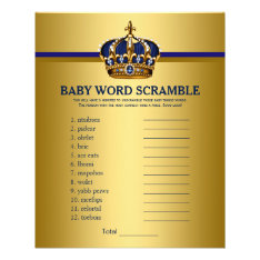 Prince Crown Baby Shower Games Word Scramble Flyer at Zazzle