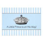 Prince Crown Blue White Baby Boy Shower Invite