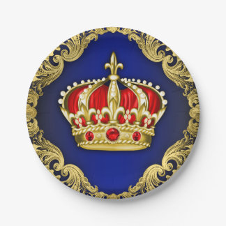 Prince Crown Royal Baby Shower Paper Plate