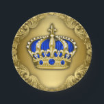 "Prince Crown Royal Blue Prince Baby Shower Paper Plate<br><div class=""desc"">Beautiful blue and gold prince paper plates. You can add text to personalize these royal prince baby shower and prince birthday party paper plates in the font style and cookor of your choice.</div>"