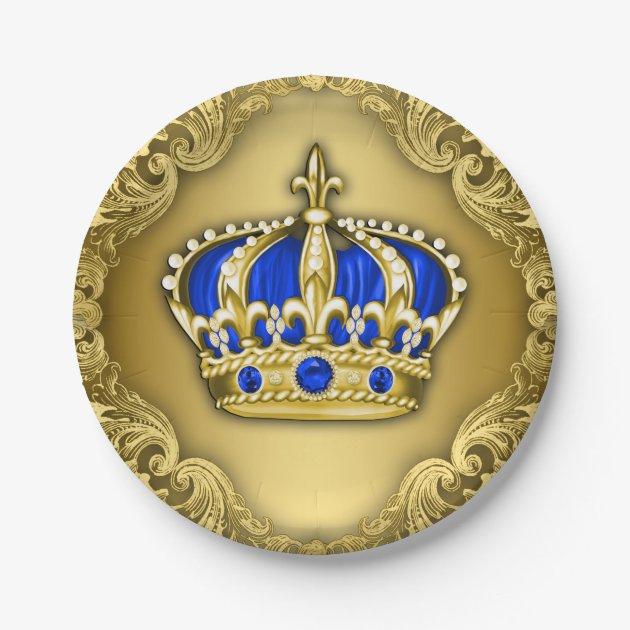 Prince Crown Royal Blue Prince Baby Shower Paper Plate   Zazzle.com
