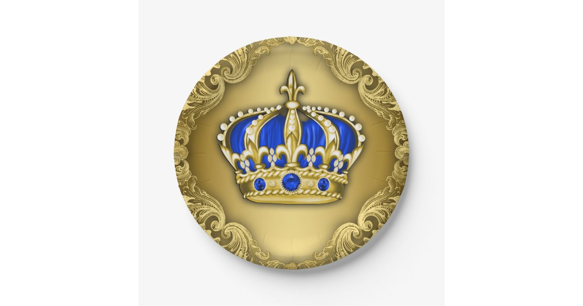 Prince Crown Royal Blue Prince Baby Shower Paper Plate