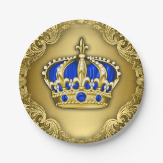 Prince Crown Royal Blue Prince Baby Shower 7 Inch Paper Plate