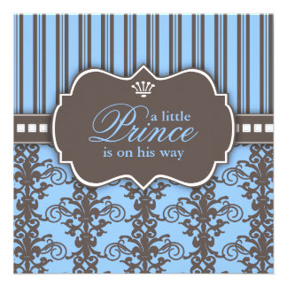 Prince Damask Stripe Black Blue Baby Shower Personalized Announcement