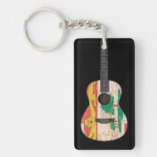 Prince Edward Island Flag Acoustic Guitar, black Rectangular Acrylic Key Chain
