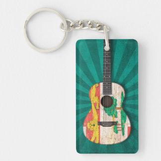 Prince Edward Island Flag Acoustic Guitar, teal Acrylic Keychains