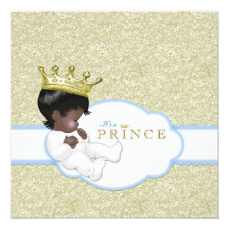 Prince Ethnic Baby Shower 5.25x5.25 Square Paper Invitation Card