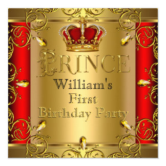Prince First 1st Birthday Boy Red Gold Crown 5.25x5.25 Square Paper Invitation Card