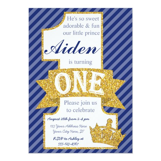 Prince First Birthday Invitation With Envelopes Zazzle Com
