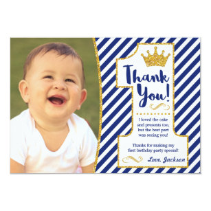 Prince thank you invitations announcements zazzle prince first birthday thank you card altavistaventures Image collections