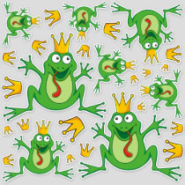 Prince Frog Icon Set Stickers