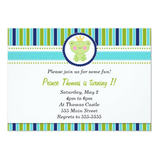 Prince Frog Invitation Boy Birthday Party Green
