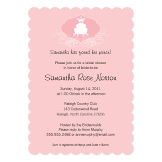 Prince Frog Themed Bridal Shower 5x7 Paper Invitation Card