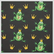 Prince Frog with Crowns Pattern Fabric