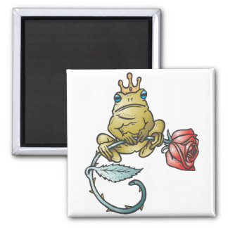 prince frog with rose 2 inch square magnet