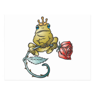 prince frog with rose postcard