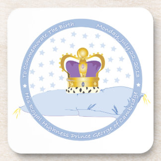 Prince George of Cambridge Pillow and Crown Beverage Coaster